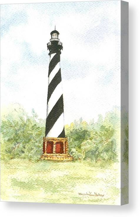 Lighthouses Canvas Print featuring the painting Cape Hatteras Lighthouse by Mary Dunham Walters