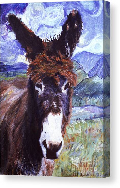 Pat Saunders-white Paintings Canvas Print featuring the mixed media Carrot Top by Pat Saunders-White