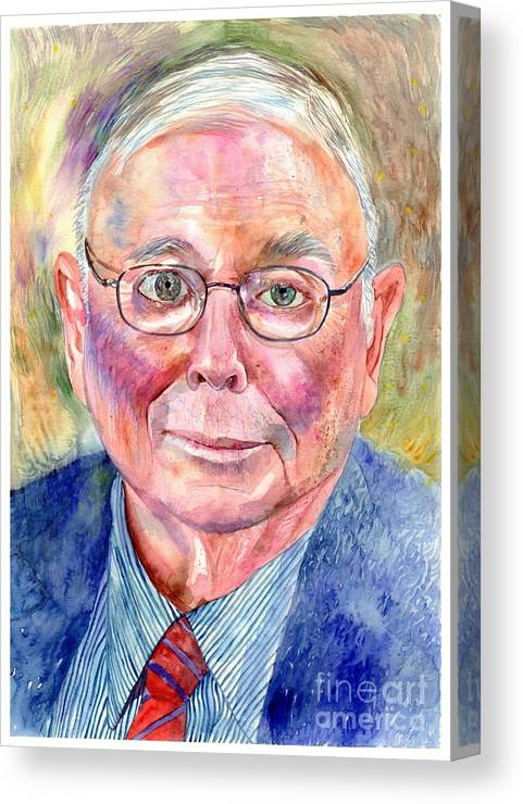 Charlie Canvas Print featuring the painting Charlie Munger Painting by Suzann Sines