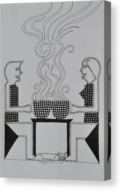Coffee Canvas Print featuring the drawing Coffee Break by Raul Agner
