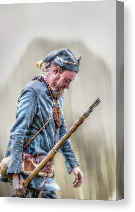 Uniform Canvas Print featuring the digital art Colonial French Soldier by Randy Steele