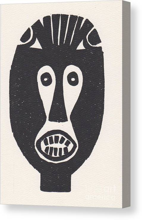 Congo Canvas Print featuring the drawing Congo Mask by Mia Alexander