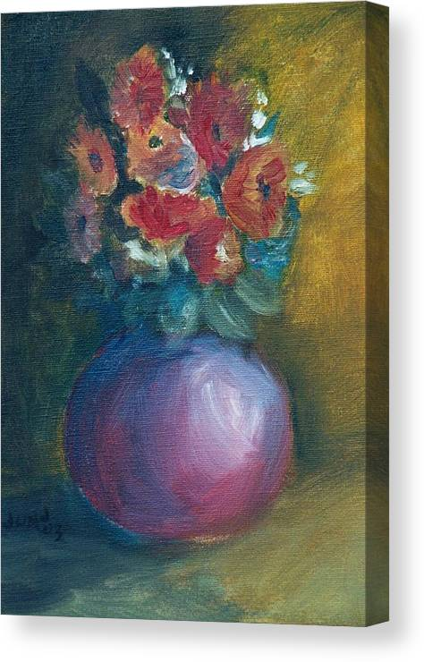 Daisies Canvas Print featuring the painting Daisies by Jun Jamosmos