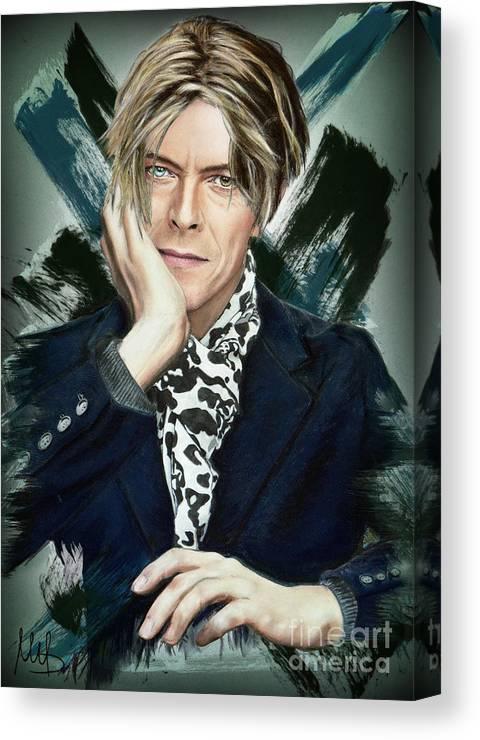 David Bowie Canvas Print featuring the pastel David Bowie by Melanie D