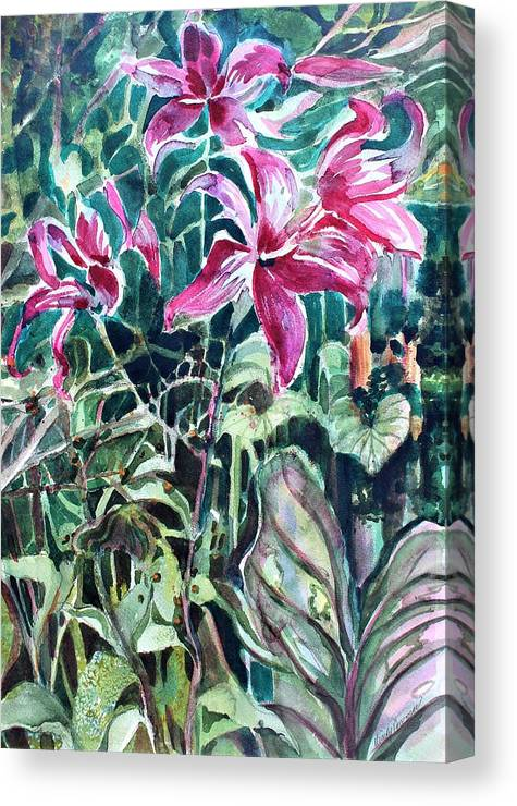 Day Lily Canvas Print featuring the painting Day Lilies Day Light by Mindy Newman