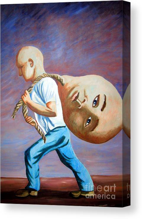 Identity (symbolic Art) Canvas Print featuring the painting do I have to throw my ego away to find my Self by Tanni Koens