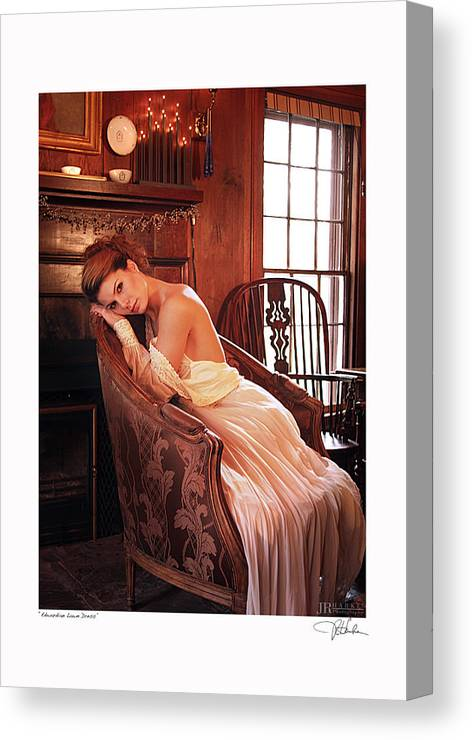 Nude Fine Art Figure Art Glamour Fashion Canvas Print featuring the photograph Edwardian Lawn Dress by JR Harke Photography