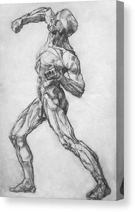 Nude Canvas Print featuring the drawing Gypsum Drawing Model by Iliyan Bozhanov
