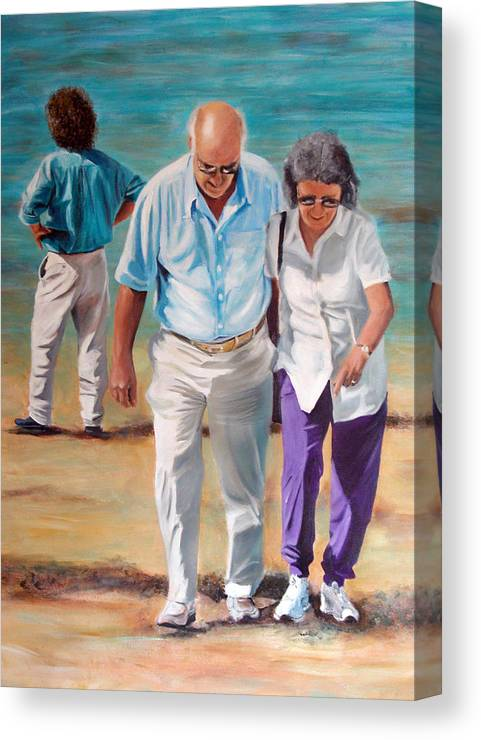 Beach Canvas Print featuring the painting Helping Hand by Fiona Jack