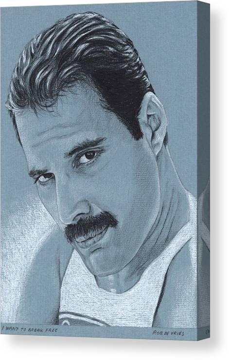 Celebrity Canvas Print featuring the drawing I Want To Break Free by Rob De Vries