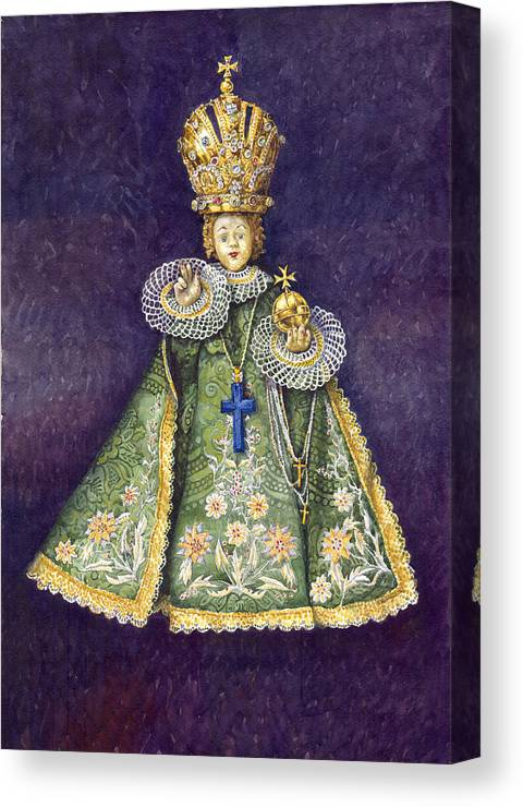 Watercolour Canvas Print featuring the painting Infant Jesus Of Prague by Yuriy Shevchuk