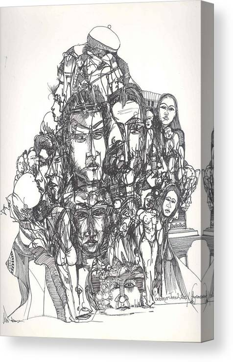 Joined Canvas Print featuring the drawing Joined Up Into One by Padamvir Singh