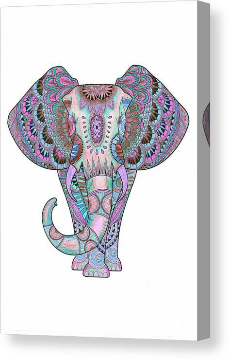 Mandala Canvas Print featuring the drawing Mandala Elephant Indigo by Aye