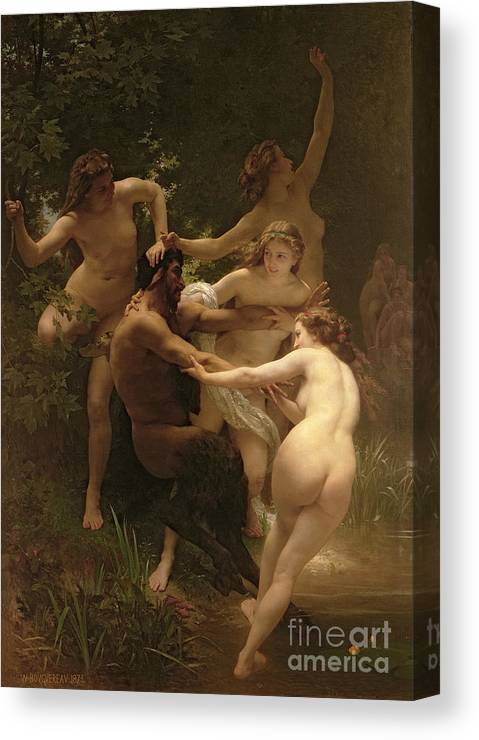Nymphs And Satyr Canvas Print featuring the painting Nymphs And Satyr by William Adolphe Bouguereau