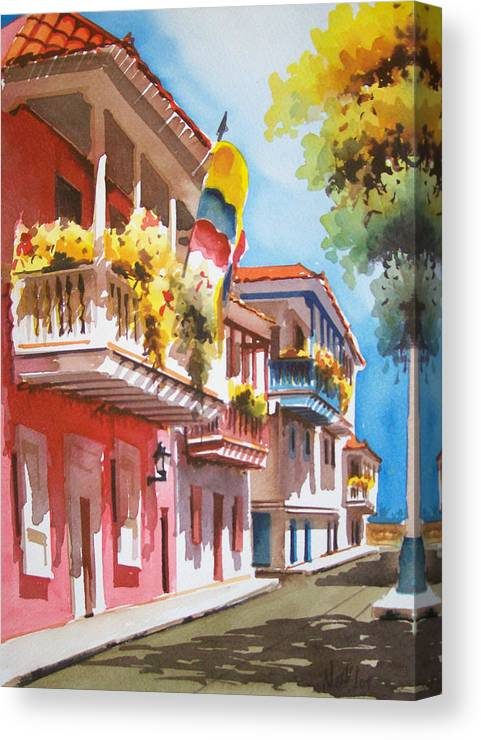 Cartagena Canvas Print featuring the painting Old Caragenta by Leo Gordon