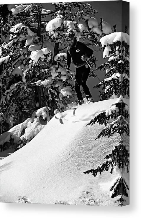 Smuggler's Notch Canvas Print featuring the photograph Powder Hound Bw Version by Steve Harrington