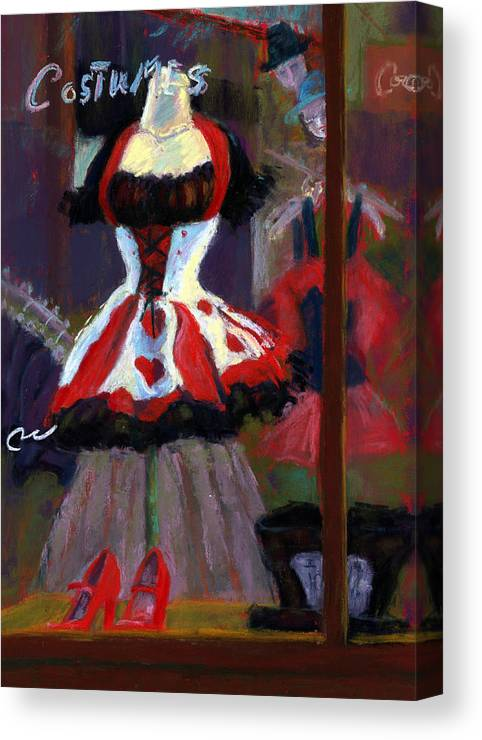 Red Black White Jester Costume Mardi Gras Holloween Ritz Exotic Night Store Window Canvas Print featuring the painting Red And Black Jester Costume by Cheryl Whitehall