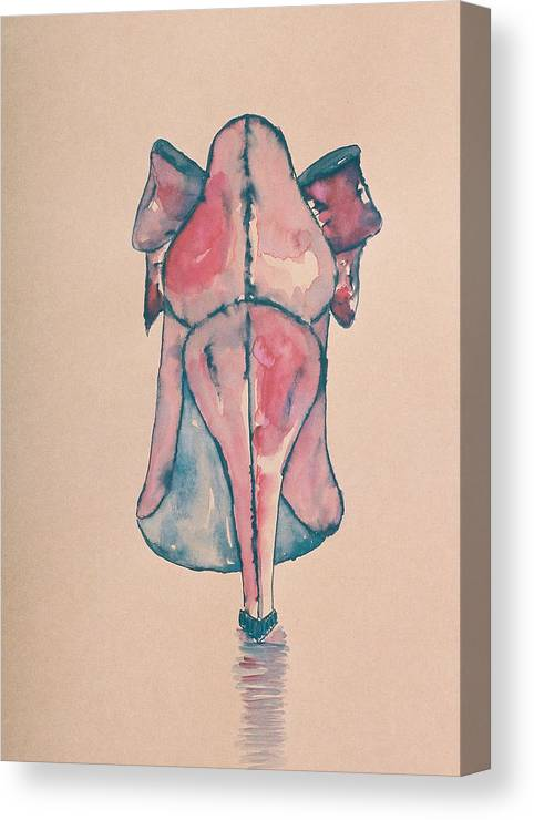 Drawing Canvas Print featuring the drawing Red Shoe by Oudi Arroni