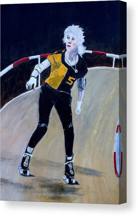 Roller Derby Canvas Print featuring the painting Roller Derby Queen by Ralph LeCompte