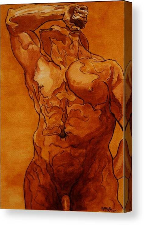Male Nude Canvas Print featuring the painting Rome Series Vi by Dan Earle