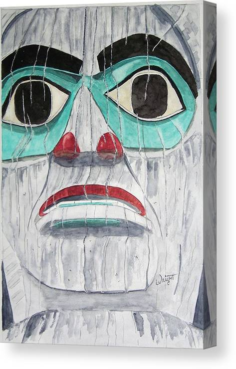 Alaska Totem Figure Canvas Print featuring the painting She Is Tlingit by Larry Wright