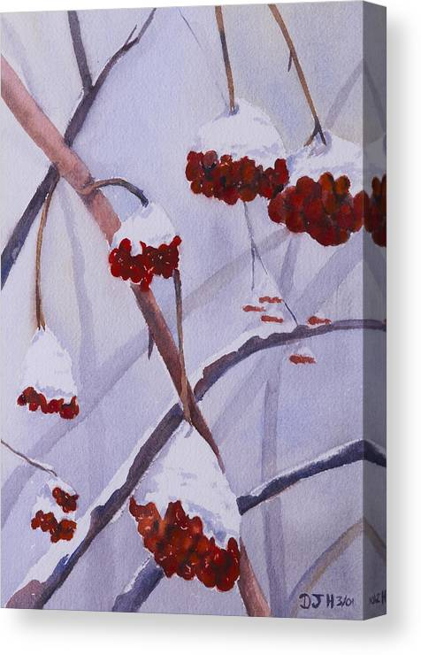 Snow Canvas Print featuring the painting Snow Caps by Debbie Homewood