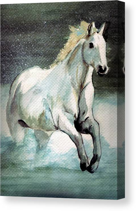 White Horse Water Running Horse Canvas Print featuring the painting Splash by Debra Sandstrom