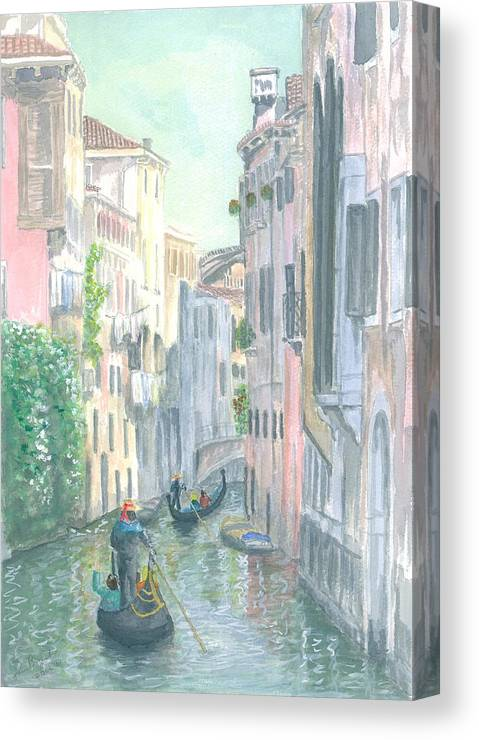 Venice Canvas Print featuring the painting Street Scene by Dan Bozich