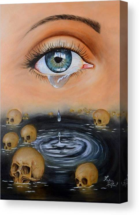 Surrealism Canvas Print featuring the painting The Tear by Fadia Raffoul
