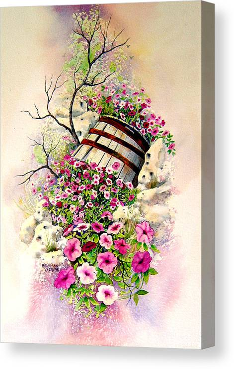 Floral Canvas Print featuring the painting Tipsy Whiskey Barrel by Brooke Lyman