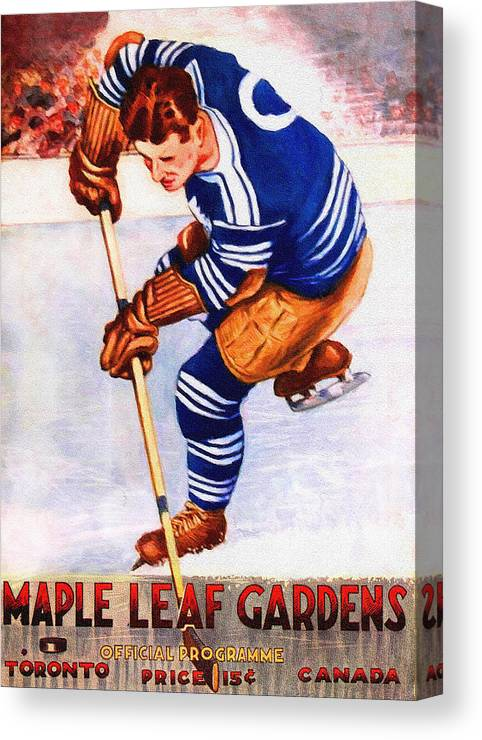 6638dfc60cd Toronto Canvas Print featuring the painting Toronto Maple Leafs Vintage  Program Two by John Farr