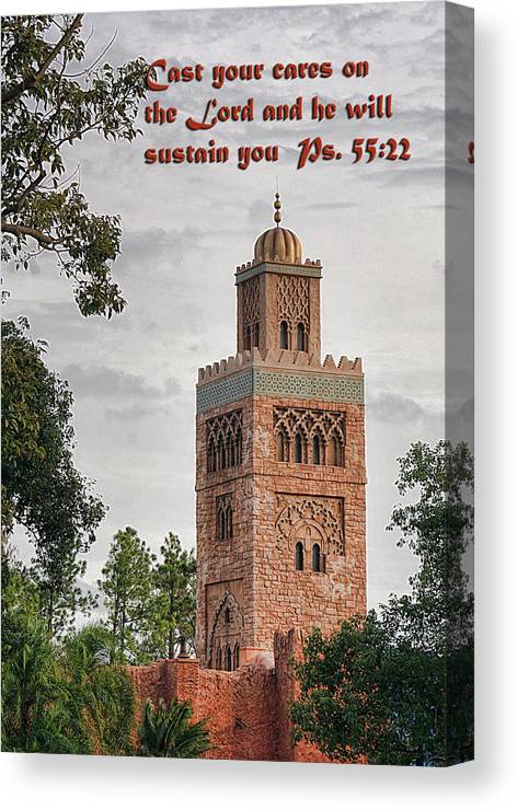 Scripture Canvas Print featuring the photograph Tower Building Psalm Fifty Five Vs Twenty Two by Linda Phelps