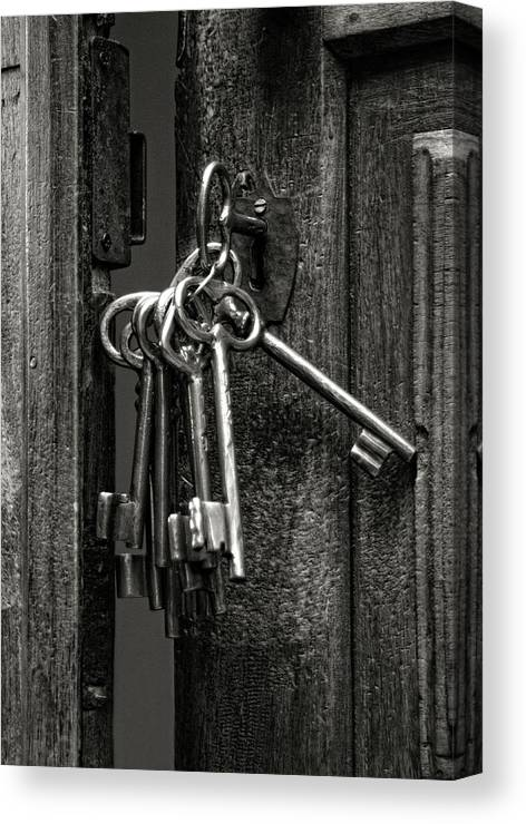 Door Canvas Print featuring the photograph Unlocked - Keys And Opened Door by Mitch Spence