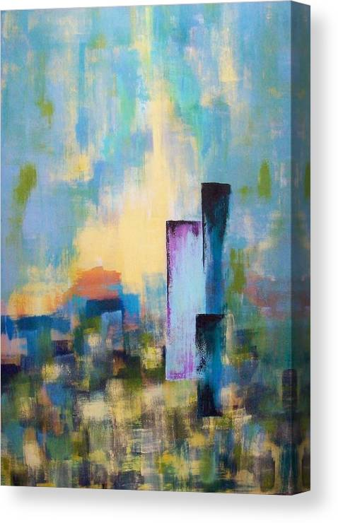 Modern Canvas Print featuring the painting Urban Dusk by Jane Robinson