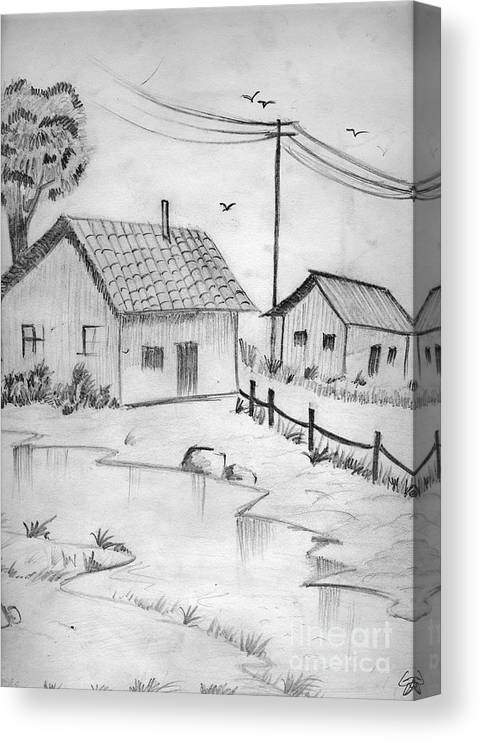 Pencil Drawing Canvas Print featuring the painting Urbanisation Of Villages - Gaon Chale Shahr Ki Oar by Tanmay Singh
