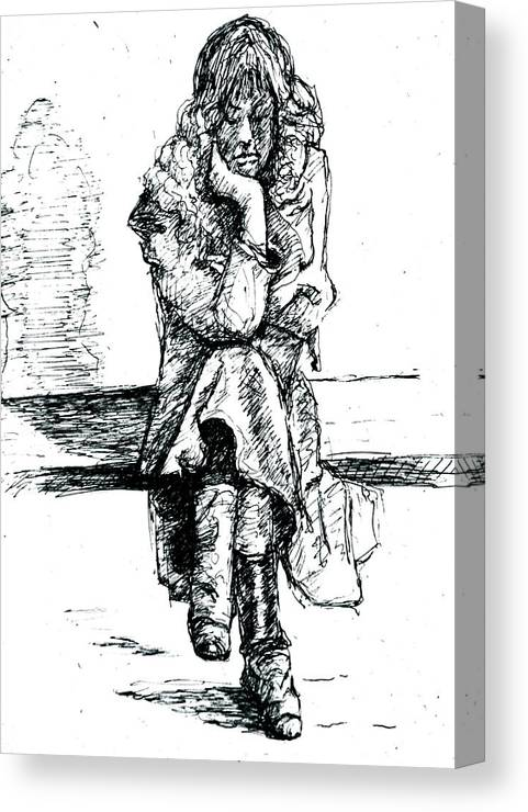 New York City Canvas Print featuring the drawing Waiting For The 6 Train by Dan Earle
