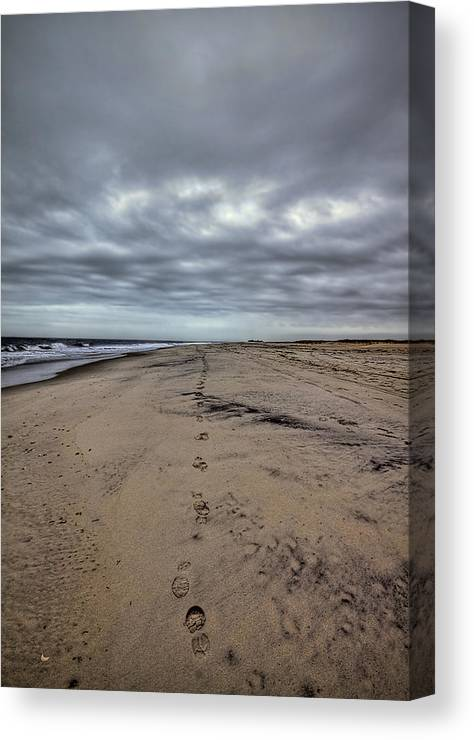 Beach Canvas Print featuring the photograph Walk The Line by Evelina Kremsdorf