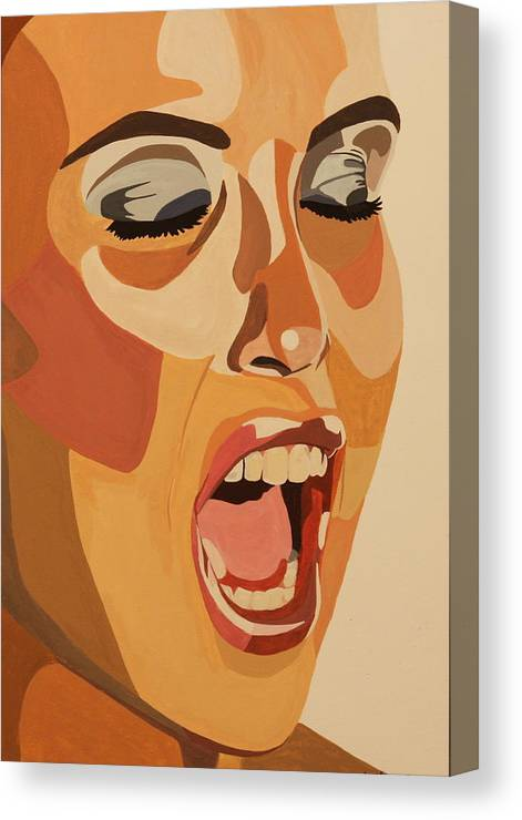 Woman Canvas Print featuring the painting Watercolor Scream by Michelle Miron-Rebbe