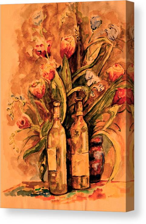 Wine Bottles Canvas Print featuring the painting Wine And Tulips by Dan Earle