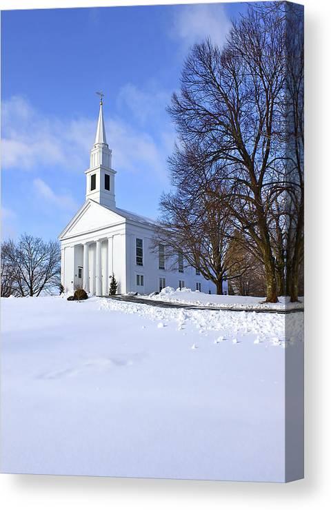 Beautiful Canvas Print featuring the photograph Winter Church by Evelina Kremsdorf