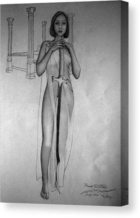 Woman Canvas Print featuring the drawing Woman With Sword by Ronald Welch
