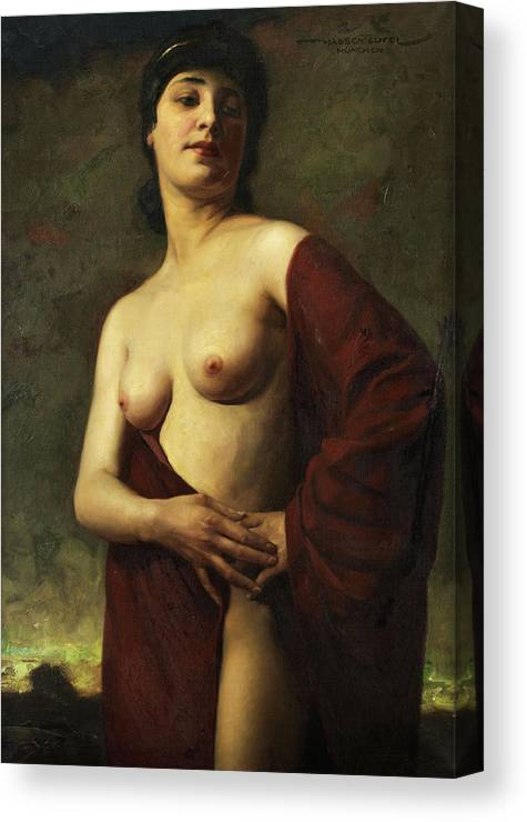 Hans Hassenteufel Canvas Print featuring the painting A Young Woman by Hans Hassenteufel