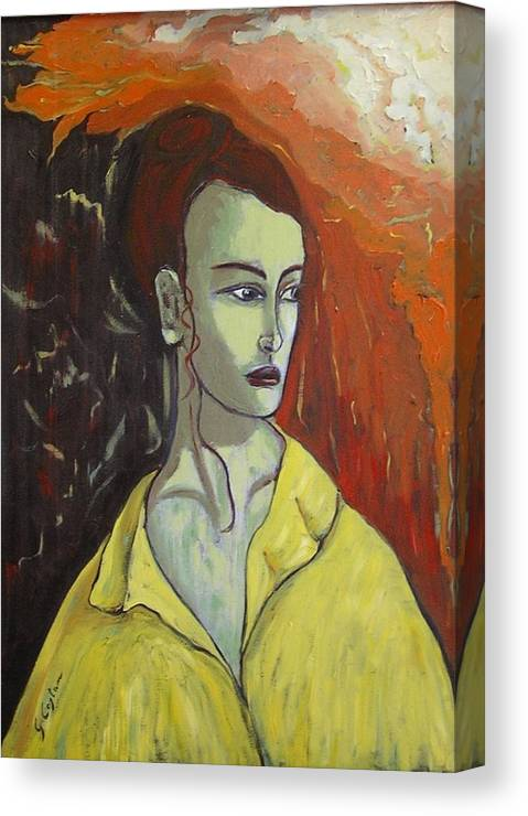 Woman Canvas Print featuring the painting Busto Di Donna Con Abito Giallo by Giosi Costan