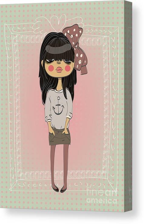 Play Canvas Print featuring the digital art Cute Fashion Little Girl With Frame by Elena Barenbaum