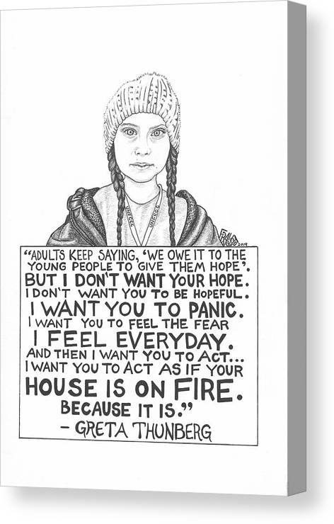 Pen And Ink Canvas Print featuring the drawing Greta Thunberg Drawing by Rick Frausto