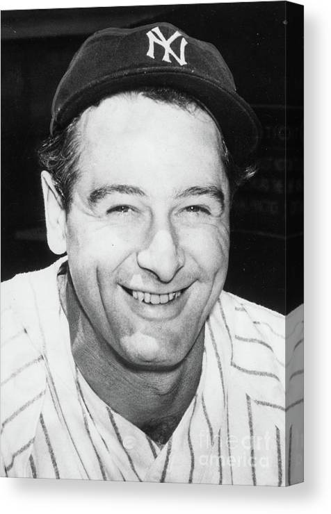 People Canvas Print featuring the photograph Lou Gehrig Close Portrait by Transcendental Graphics