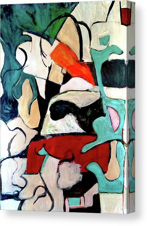 Abstract Canvas Print featuring the painting Red Remains by Susan C Price