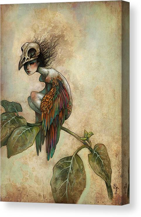 Bird Canvas Print featuring the painting Soul Of A Bird by Caroline Jamhour