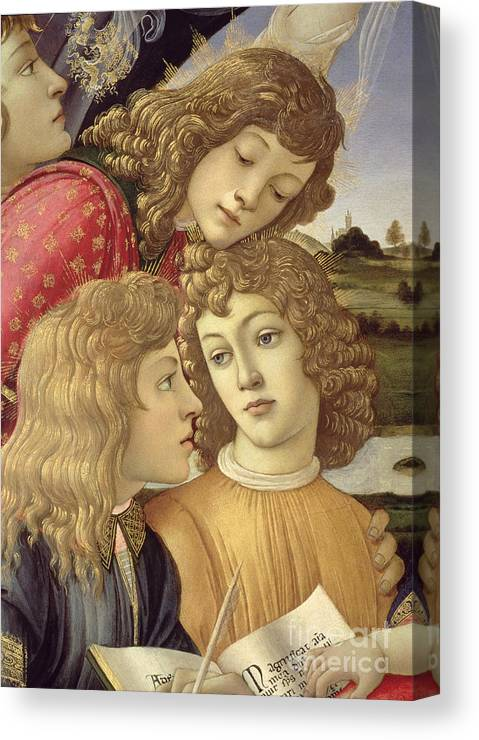 Sandro Botticelli Canvas Print featuring the painting The Madonna Of The Magnificat, Detail Of Three Boys, 1482 by Sandro Botticelli