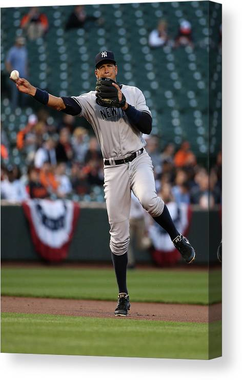 People Canvas Print featuring the photograph Alex Rodriguez by Rob Carr